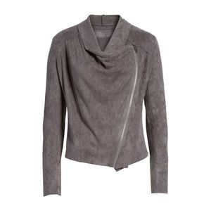 NWT Blank NYC Faux Suede Drape Front Jacket
